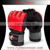 MMA Grappling Gloves /Custom Printed leather Gloves, Prop-up Wrist MMA Training Hand Gloves / Half Mitts Sparring Boxing Gloves