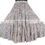 Cotton Block printed Skirt Casual Long Hippie Skirt Women Belly Dance Skirt Manufacturer