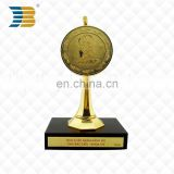 High Quality Made in China Metal With Wooden Bottom Anniversary Trophy