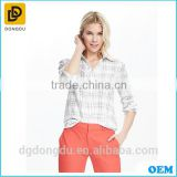 China factory dry fit shirt for women high quality custom shirt white open collar check shirt