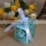 Hot New Product Wedding Favor Laser Cut Box Candy with Satin Ribbons                                                                         Quality Choice