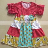 Girl party wear western dress baby girl boutique ruffle sleeve dress children frocks design one piece with flower