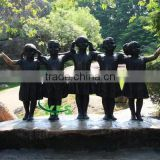 Bronze little boys and girls garden statue