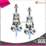 Caroline Fashion Jewelry Gunmetal Earrings With Light Blue Navettes White Clear Crystal Stone