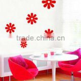 bright red color bedroom wall sticker