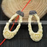LFD-0021B Newest White Shell Flowers Pave Rhinestone Crystal Connectors Beads For Making Necklace
