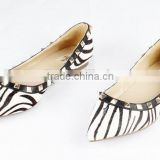 2015 Wholesale fashion girls shoes Women formal shoes Zebra-stripe upper hot sale flat shoe