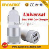 2015 season hot selling dual usb car charger for mobile phone usb in car using charger in bullet shape