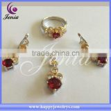 Fashion wedding jewelry set wholesale price red AAA zircon thai silver women's jewelry set (0761T21)