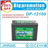 EverExceed Solar system / Telecom Application sealed AGM deep cycle 12v 250ah lead acid battery
