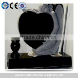 Professional Factory Supply European Black Granite Heart Shaped Tombstone with Angel