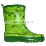 unisex clover printed kids rain boots,hot sale customized rubber boots children,durable high quality gum boots