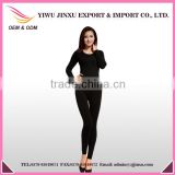 seamless long underwear pajamas set sexy women black thermal underwear