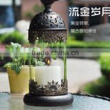Europe romantic moroccan style vintage iron glass candle holder candle lantern for wedding decor