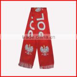 Poland scarf in good quality,130*14cm double layer scarf,red color scarf