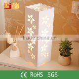 Cube Shape Modern flower pattern Table Light Bedside Table Lamp For Home Hotel Decoration                                                                         Quality Choice