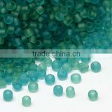 8/0 Frosted Transparent Glass Seed Beads, 2.0~3.0mm, about 15000pcs/pound(SEED-A016-8-M21-2)
