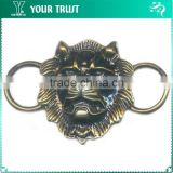 Fashion Handsome Lion Head With Teeth Plating Black Gold Bronze Metal Belt Buckle