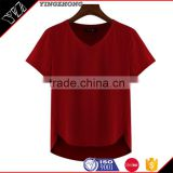 (Trade Assurance)wholesale 220g 95%cotton 5%spandex short sleeve v neck plain dyed women fitness t shirt