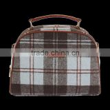 Tweed handle bag with brown check design