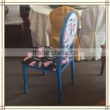 Antique Round Blue metal chair frames (AL84)