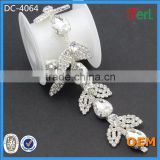 2016 new arrival beaded crystal chain trimming for wedding dress belt designs