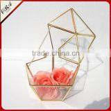 China made house air plant glass terrarium / wedding design hanging glass geometric terrarium in rose gold color