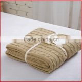 Thermal Natural 100% Cotton Knit Throw Blanket for Couch Bed