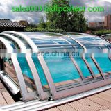 Dilang brand Flexible and retractable polycarbonate solid sheet for swimming pool enclosures cover
