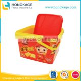 2.5L Plastic Cookies Container with Handle,In- Mold Label Food Grade Degradable Biscuit Plastic Container