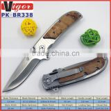 (PK-BR338) Heavy Duty Shadow Wood Handle Satin Blade Browning 338 Survival Outdoor Camping Folding Pocket Knife