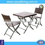 Hand Woven Rattan Furniture 3pcs Patio Bistro Foldable Table and Chairs Set