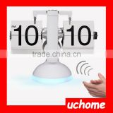 UCHOME LED Warm Light Table Clock Quartz Movement Small Balance Automatic Page Turning Clock