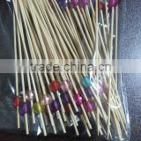 Whole sale 2016 New Colorful bamboo stick Fruit Skewer with coloful decorative Bead For Party use.