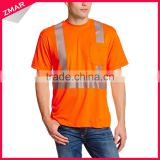 Short Sleeve Fashion Design Wholesale Cheap Safety Tape Hi Vis 100% Cotton Reflective T-shirt