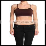Seamless Cross Strap Back SPORTS BRA TANK TOP Stretch Bandeau Cami brown color