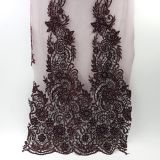 2017 Hot design Wine fantastic embroidered lace fabric for girl dress