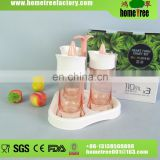 PP/AS 110ml*3 Super Transparent Rectangular Desktop Heart Turn Lid Spice Jar Seal Plastic Set With Rack Stand