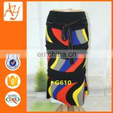 New design african classic style stripe pictures of long skirts for women with button and belt