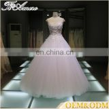 Tiamero 1A1115 Cap sleeve romantic 3D flower lace beading sexy see-through ball gown bridal wedding gowns