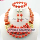 Fashion african beads necklace \nigerian necklace for wedding party\Lady coral beads jewelry set