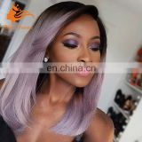 Medium Long 1b Purplr Ombre Human Hair Wig Brazilian Virgin Hair Wigs