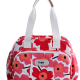 printed canvas shoulder bag with long tote handle