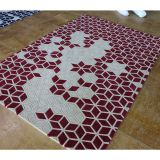 2018 Stereoscopic Cut Pile Carpet Red Geometric Pattern Rugs For Living Room
