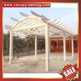 prefabricated outdoor garden wood look style alu aluminium alu aluminum metal gazebo grape trellis Pergola vine grids shelter kits