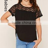 New fashion girls tops 2016 black short sleeves embroidery knit top                                                                                                         Supplier's Choice