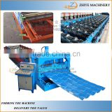 Updated Tech Glazed Tile Roll Forming Process Line/glazed trapezoidal sheet roof panel making machine
