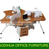 2015#workstation for 3 person/ wooden workstation desk with aluminum legs