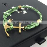 Fashion Jewelry High Quality Handmade Wrap Bracelet 316l Stainless Steel Bracelet Popular Men Anchor Bracelet