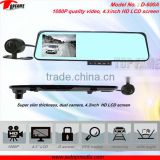 TOPFAME D-600A 1080P Quality car mobile dvr with gps 4.3inch HD LCD screen car rearview mirror video recorder